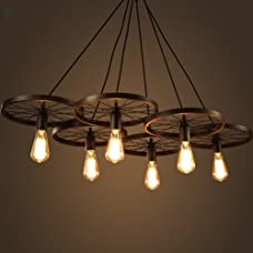 LightInTheBox Lighting Personality Industrial Loft Style Wrought Iron Chandelier Restaurant Bar Cafe Restaurant Wheel Pendent Lights