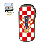 XTQI Croatia Soccer Pencil Case,Big Capacity Pen Bag with Double Zipper Black