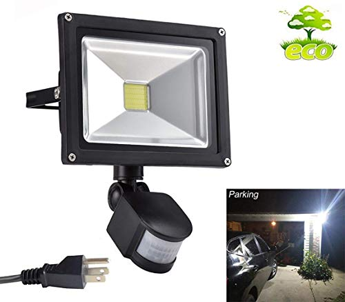 (W-LITE 30W Led Motion Sensor Flood Lights Outdoor, PIR Induction Lamp, Intelligent Light, 6000K, Cool White, 240W Bulb Equivalent, 2400lm, Super Bright Waterproof Security Floodlight)
