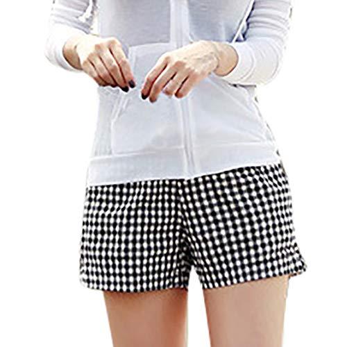 Fashion Shorts for Women, Summer Flax Lattice Printing Wide-Leg Trousers Beach Pants(Black,M)