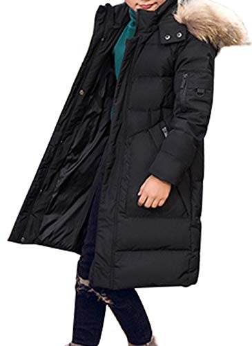 Trim Jacket Fur Long Parka Style Overcoat with Hooded E Down Duck Thick Padded Winter Mid Boy SellerFun Black Puffer 14qgwZZ