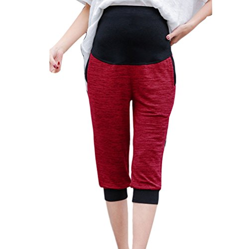 Zhhlaixing pantalones de maternidad Casual Knitted Wear Pants Outside Belly Pants Large Size for Pregnant women Red