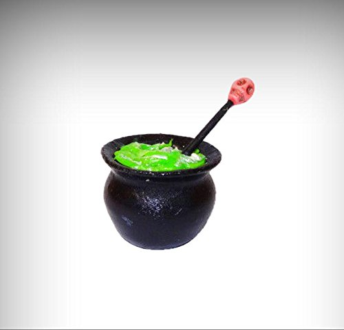 Cottage Cauldron (Dollhouse Halloween Witch Cauldron w Green Magic Potion and Pink Skull Miniature - My Mini Garden Dollhouse Accessories for Outdoor or House Decor)