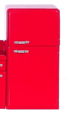 Amazon.es: Casa de Muñecas 1950 Retro Rojo Frigorífico Muebles ...