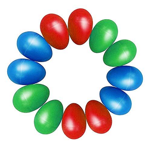 TSLIKANDO(TM) 12pcs Plastic Percussion Musical Egg Maracas Egg Shakers Kids Toys- 3 Different Colors