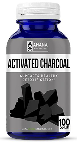 Ahana Nutrition Activated Charcoal Capsules for Detoxification, Gas, Hangovers & Teeth Whitening (450mg - 100 Capsules)
