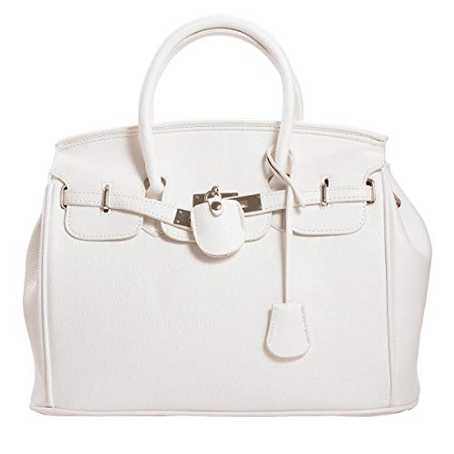 (Poxas Top Handle Litchi PU Leather Pattern Bag for Women Ladies Shopping Bag Travel Shoulder Bag (White) )