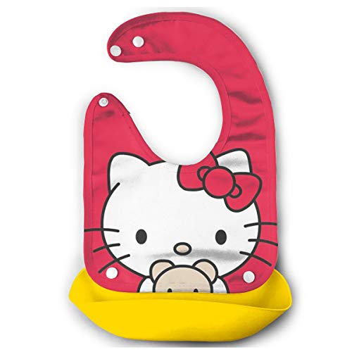 Baby Bib Hello Kitty in Red Tiny Waterproof Feeding Bibs for Babies and Toddlers with Food Catcher Pocket -