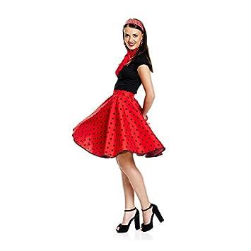 def2bd982b4869 Kostümplanet® 50er Jahre Rock n Roll Rock rot Gepunkteter Tellerrock  Rockabilly Damen Rockn Roll Kostüm
