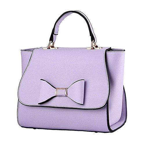 QCKJ-Lorenz-Borsa a tracolla da donna in ecopelle, con fiocco, colore: viola