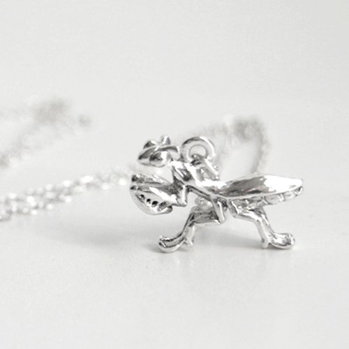 Enchanted Leaves - Praying Mantis Necklace - Silver Praying Mantis Charm Necklace - Cute Insect Bug Necklace -