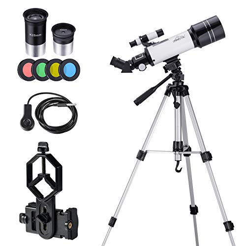 Astronomy Telescope for Kids Beginners Teenagers, with 43 inch Tripod Phone Adapter Case Moon Filter, 400/70mm 16x-66x Starter Scope MAXLAPTER ... (Best Starter Telescope For Kids)