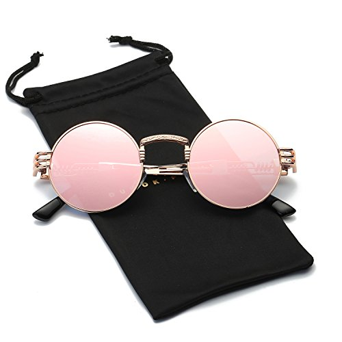 Dumok Round Metal Steampunk Vintage Circle Sunglasses DSR007 With Gold Frame/Pink Lens
