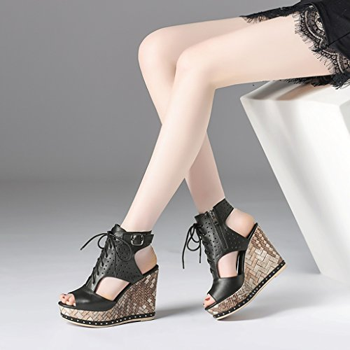 Platforms Female Fish Heeled black High Sandals Slope Color Summer Lace 11cm Heels Size Shoes 35 Head amp; Waterproof Leather High Thick Sandals Black High 6PYwFxwO
