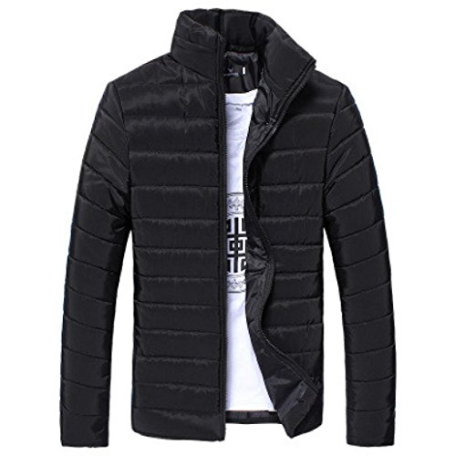Jacket with Jacket Down Men Protection Lightweight Warmth Resistant Men's M for Familizo Filler Microfiber Black Padded Black amp; Seasons amp; vxxYwq