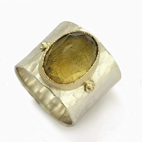 - Smoky Quartz wide ring, Sterling silver band, yellow gold, mixed metals ring, Smoky Quartz gemstone, Rustic silver unisex ring, wide silver band, wide gemstone band, Oval gemstone ring