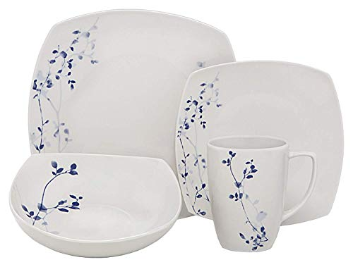 - Melange 16 Piece Square Porcelain Dinner Set (Indigo Garden)| Service for 4 | Microwave, Dishwasher & Oven Safe | Dinner Plate, Salad Plate, Soup Bowl & Mug (4 Each)