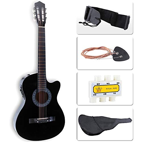 LAGRIMA 38″ Acoustic Guitar Cutaway Design, Natural 6 Steel Strings with Nylon Bag,Tuner, Pickups, Strap for Beginners, Kids, Adults, Black