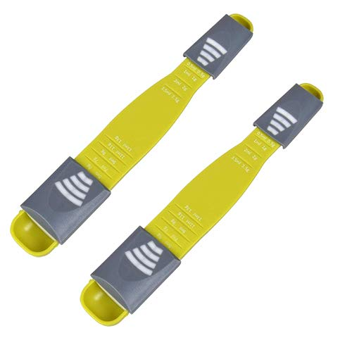Accesorios de cocina cuchara de medir-2pcs doble extremo escala ajustable nueve puestos cuchara-para hornear cocina café...
