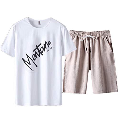 - Freely Men's Drawstring Print Cotton Plus-Size T-Shirt Top + Shorts Pants Pattern2 L