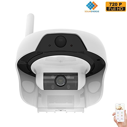 Solar Powered Wireless WiFi Security Camera 720P Cable-less IP Network Surveillance System Remote Control Web Cam Wire-Free Water Proof Outdoor Dome Camera with Built in 16GB TF Card by freecam