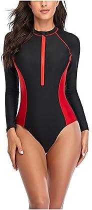 Women's One Piece Full Sleeve Sun Protection Swimsuit Athletic Zipper Surfing Monokini Swimwear Bathing