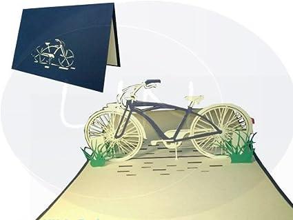 /Pop Up 3d biglietto d auguri Bicicletta blau LIN/