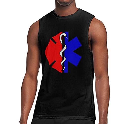 Mens Fire Rescue Scrabble Maltese Sleeveless T-Shirts Cotton Running Sleeveless Singlet Black
