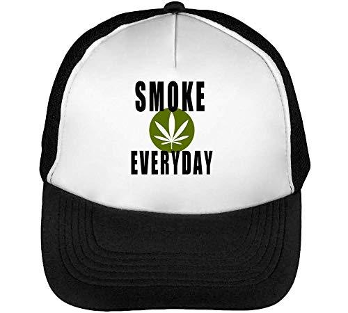 Smoke Weed Everyday Leaf Fashioned Gorras Hombre Snapback Beisbol Negro Blanco