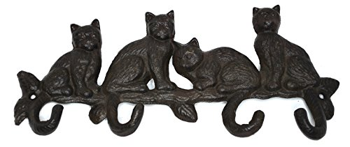 Iron Rustic Wall Hooks 4 Cats Iron Key Rack Animal Hooks Keyholder Home Decor Organizer Kitchen Bath Office Hat Bag Coat Towel Hook Purse Holder Storage Hook by Royal Brands