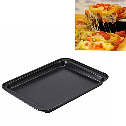 9 Inch Rectangle Non-Stick Carbon Steel Madeleine Pans Mold for Pizza Cake Cookie Biscuit Chocolate Kitchen Baking Tools Black ( Pack of 1 )