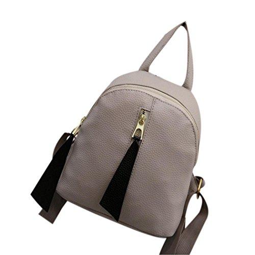 Clode® Mochila moda mujer niñas pequeña cuero cremallera mochila bolso bolso escuela Gris