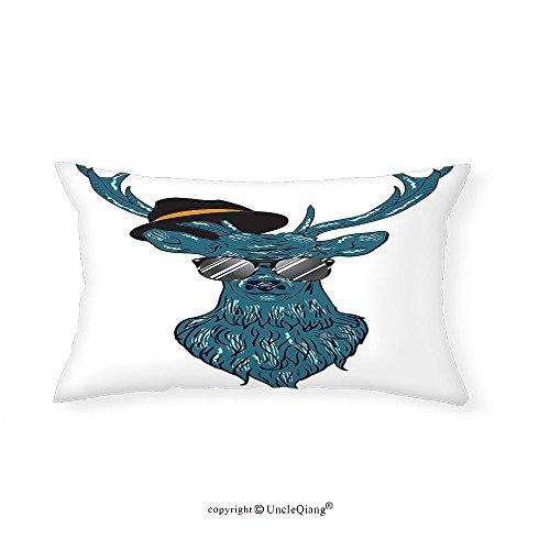 VROSELV Custom pillowcasesAntlers Decor Image of a Deer Hipster in Glasses Hat and Mustache Stylish Modern Fashionable Decor Bedroom Living Room Dorm Decor Teal - Stylish Cooling Glass