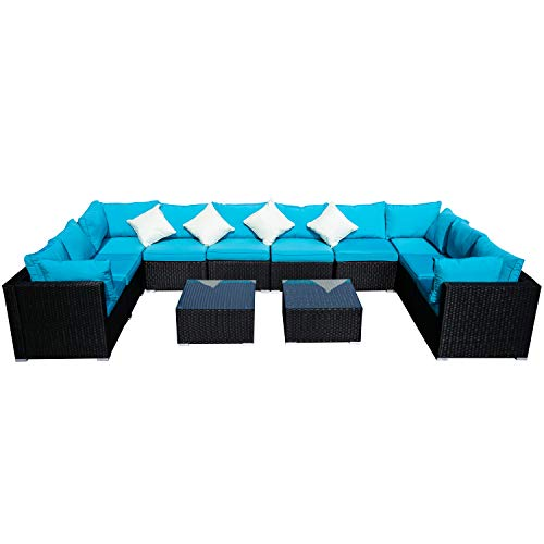 Outdoor Patio Furniture 12-Pieces PE Rattan Wicker Sectional Blue Cushioned Sofa Sets with 2 Pillows (Patio Sunbrella Furniture Commercial)