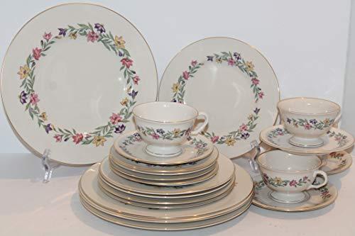Pickard Garland 20 pcs Dinnerware Set ~ Serves 4 ~ USA Gold Trim ~ RETIRED~ Very Hard to Find Complete Set