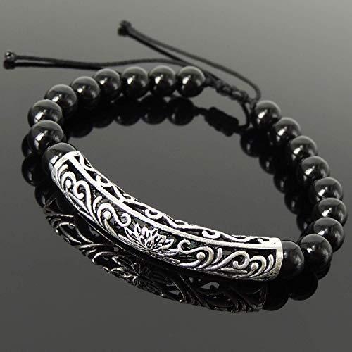 Handmade Black Onyx Gemstones Adjustable Braided Bracelet Men's Women's Tai Chi, Yoga, Compassion, Chakra Meditation, Enlightenment Symbol, Sterling Silver Lotus Charm, FREE Gift Box