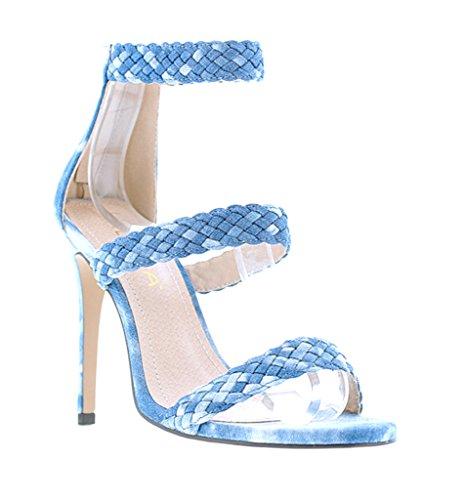 [Liliana Triple Weaved Strap Open Toe High Heels Faux Suede Golden-83(Denim 7)] (Clunky Heels)