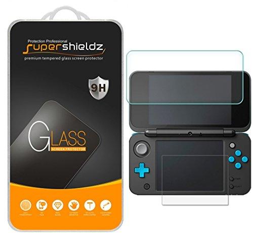 [2-Pack] Supershieldz for Nintendo 2DS XL Screen Protector (2x Top Tempered Glass + 2x Bottom PET), Anti-Scratch, Anti-Fingerprint, Bubble Free, Lifetime Replacement Warranty
