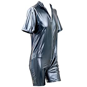 - 41dL5QeASvL - CHICTRY Men Gay Sexy Faux Leather Bodysuit Kinky Wet Look Clubwear Costume