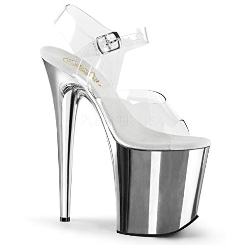 Pleaser Women's Flam808/C/Sch Platform Dress Sandal, Clear/Silver Chrome, 8 M US