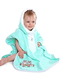 Slumbersafe Baby/Toddler Bath Poncho Towel Mint Owl