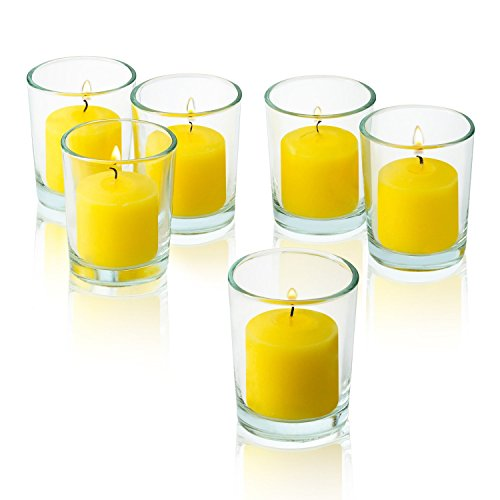Clear Glass Round Votive Candle Holders With Citronella Yellow votive candles Burn 10 Hours Set of 36