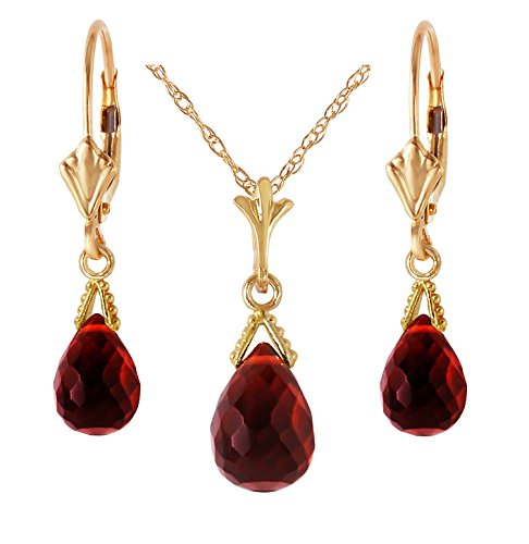 "14k Yellow Gold Jewelry Set: Natural Briolette Garnet 20"" Pendant Necklace and Dangle Earrings"
