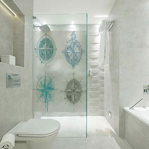 - 3D printing Customized Window Film Glass stickers,Four Different Windrose Figures with Faded Look Nautical Equipment Sea Life Decorative,Customizable size,Suitable for bathroom,door,glass etc,Teal Bei