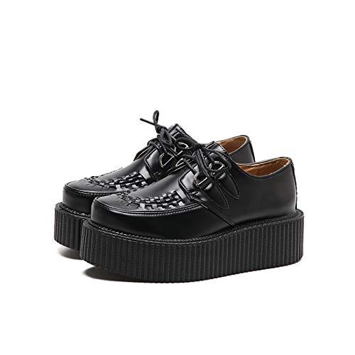 DANDANJIE Zapatos De Mujer Otoño Confort Oxfords Retro College Estilo Cuñas Zapatos De Tacón Negro Black
