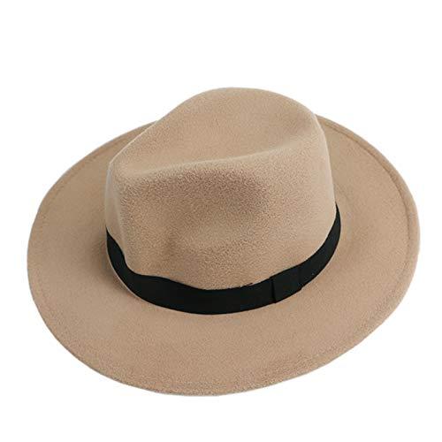 (Men Women Brim Gangster Cap Jazz Bowknot Hard Felt Fedora Bowler Panama Wide Hat)