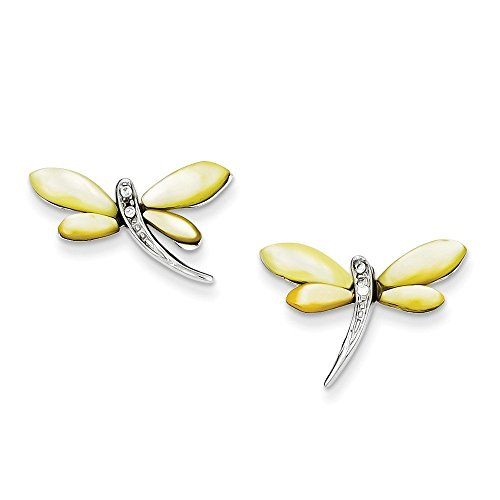 Sterling Silver CZ & Yellow Mother of Pearl Dragonfly Earrings (0.55 in x 0.87 in)