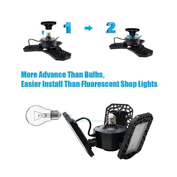 Aipsun LED Garage Light 2 Pack 80W Black Deformable Garage Ceiling Light 8000LM E26/E27 LED Light Bulbs for Workshop… 5