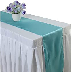 Uniquemystyle 10 pcs Satin 12'' x 108'' Table Runner Wedding Banquet Party Decoration (Aqua)