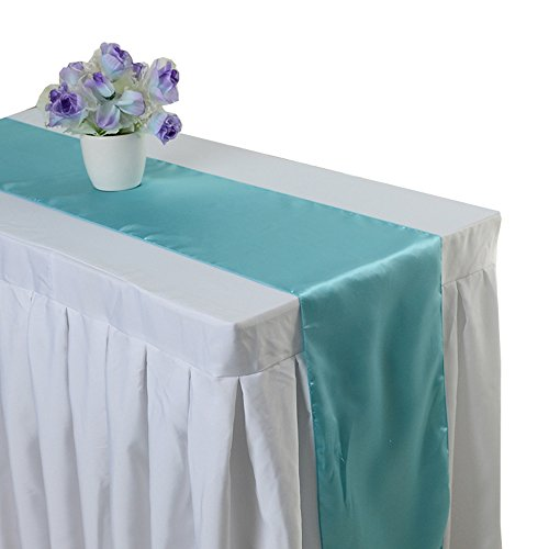Uniquemystyle 10 pcs Satin 12'' x 108'' Table Runner Wedding Banquet Party Decoration - Satin 8 Runner